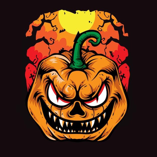 Illustrations de vecteur halloween effrayantes citrouilles Vecteur Premium