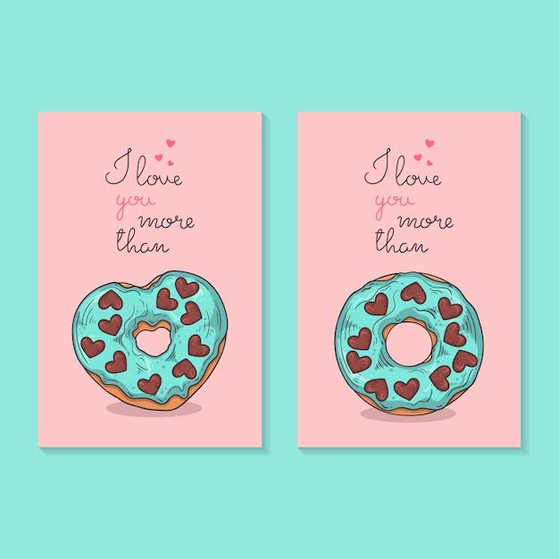 Illustrations vectorielles félicitations pour la saint valentin. cartes avec des beignets. Vecteur Premium