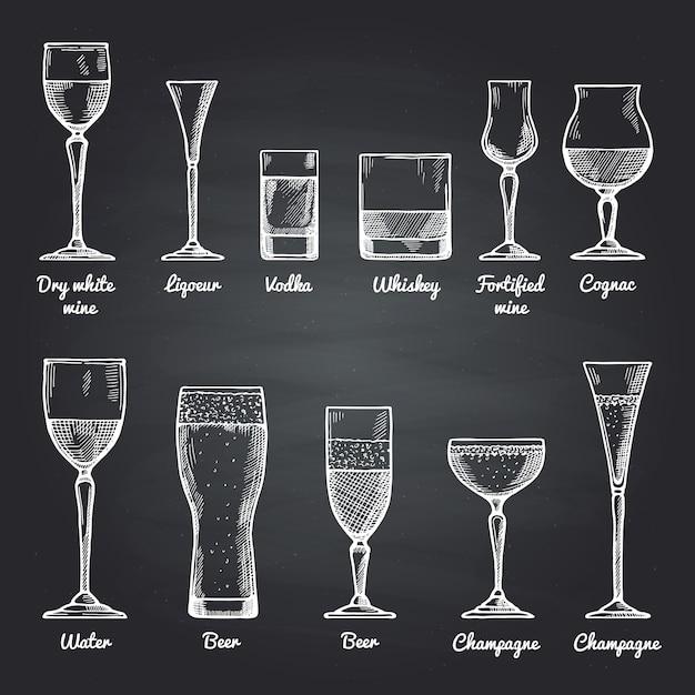 Illustrations vectorielles de verres à boire alcoolisés sur un tableau noir. dessins vectoriels Vecteur Premium