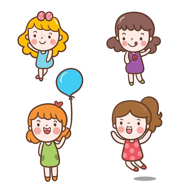 Illustrator set of girl character Vecteur Premium