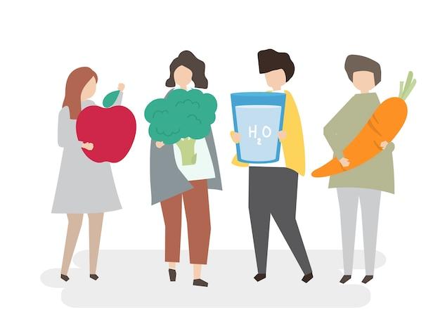 Illustré les gens avec des aliments sains Vecteur gratuit