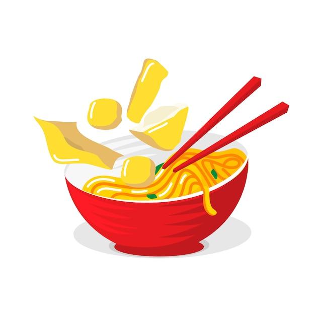 Illustré des nouilles de cuisine asiatique dans un bol rouge avec des baguettes Vecteur Premium