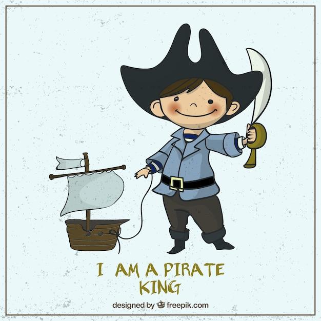Illustré pirate mignon Vecteur gratuit