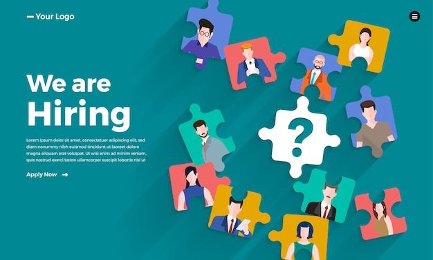 Illustrer Le Concept L'employé De Recherche. Recherche D'emploi Rh. Illustrer. Vecteur Premium