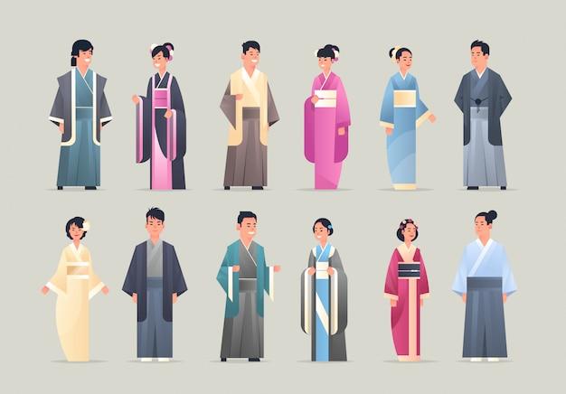 Ils Sont Des Hommes Asiatiques Femmes Portant Des Vêtements Traditionnels, Des Gens Souriants En Costumes Anciens Nationaux, Debout, Posent Des Personnages De Dessins Animés Féminins Mâles Chinois Ou Japonais, Pleine Longueur, Horizontal Plat Vecteur Premium