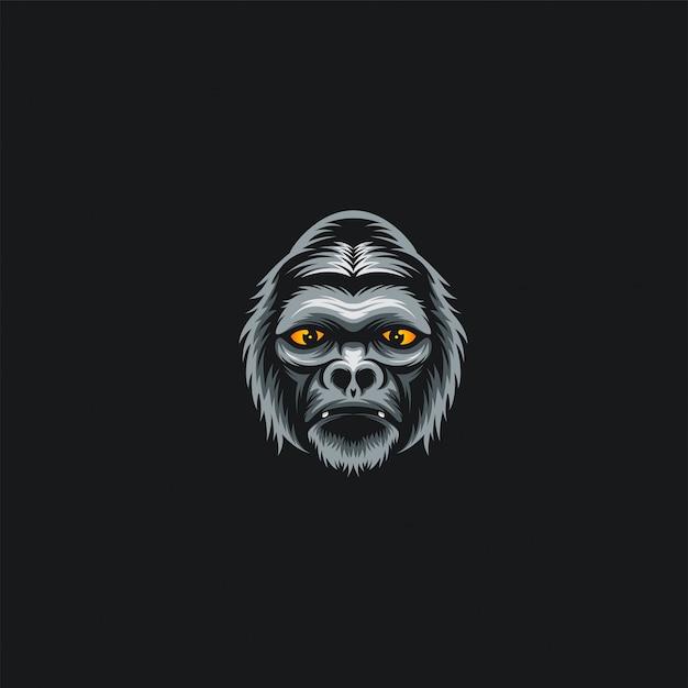 Ilustration de conception de tête de gorille Vecteur Premium