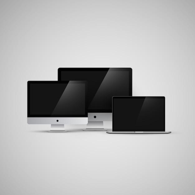 Imac Et Ordinateurs Macbook Vector Illustration Maquette Vecteur Premium