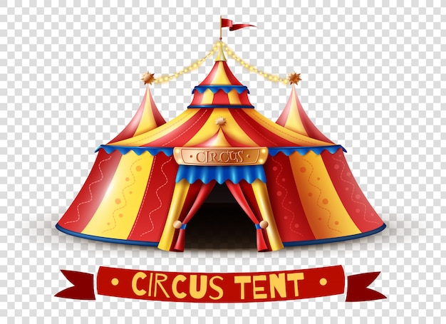 Image d'arrière-plan transparent de tente de cirque Vecteur Premium