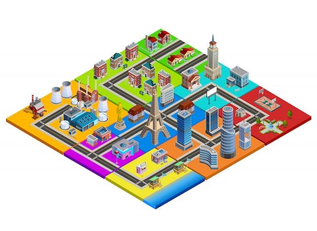 Image de carte colorée isométrique du constructeur de la ville Vecteur gratuit