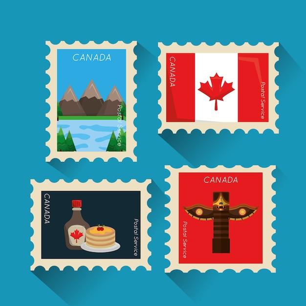 Image de collection canadienne timbre-poste Vecteur Premium
