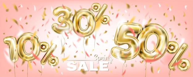 Image corail de vente en ballon d'or pour cent Vecteur Premium