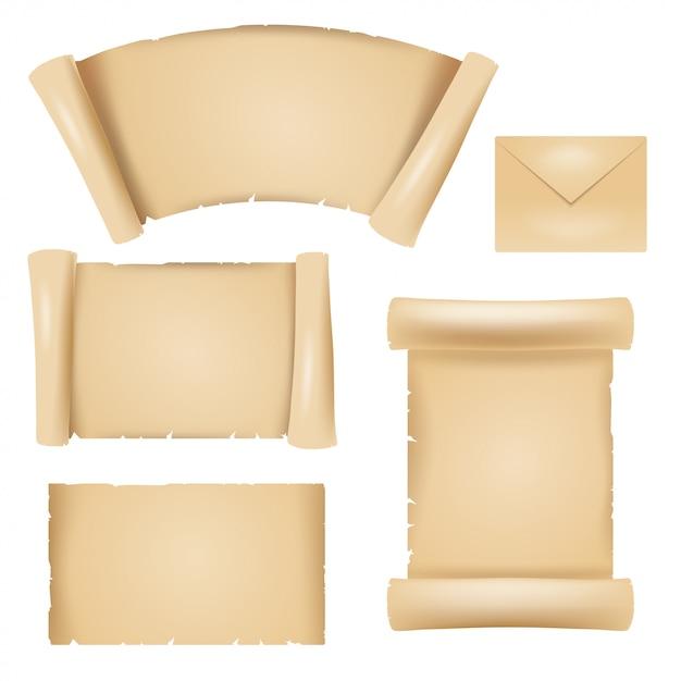 Image en couleur d'éléments de conception de vieux papyrus Vecteur Premium
