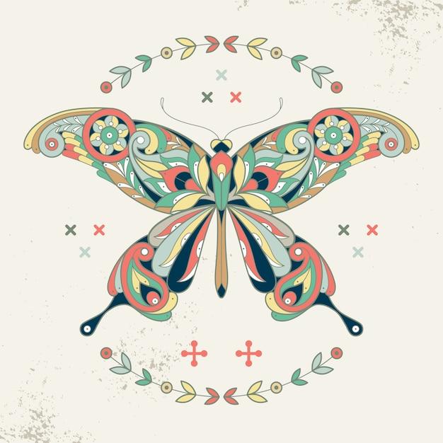Image décorative d'un papillon. Vecteur Premium