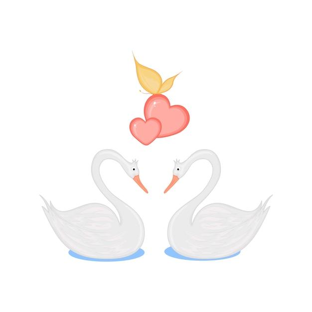 Image de deux cygnes aimants avec des coeurs Vecteur Premium