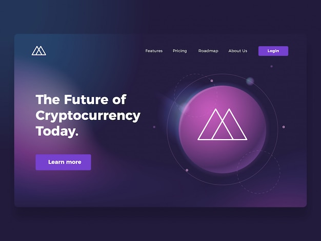 Image du héros de la page de destination de la crypto-monnaie Vecteur Premium