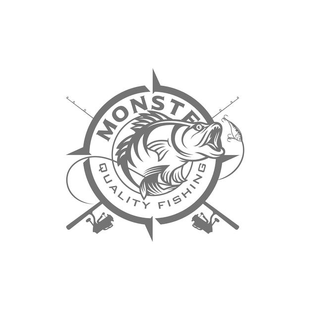 Image du logo de pêche vintage Vecteur Premium