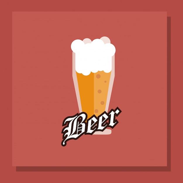 Image emblème de verre de bière Vecteur Premium