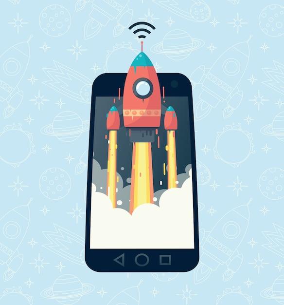 L'image De La Fusée Dans Le Téléphone. Communication Mobile Rapide Vecteur Premium