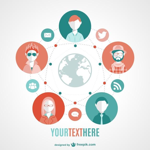 Image globale de vecteur de médias sociaux moderne Vecteur gratuit