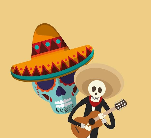 Image d'icônes liées à la culture mexicaine Vecteur Premium