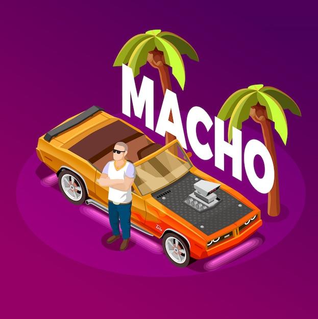 Image isométrique de la voiture de luxe macho man Vecteur gratuit