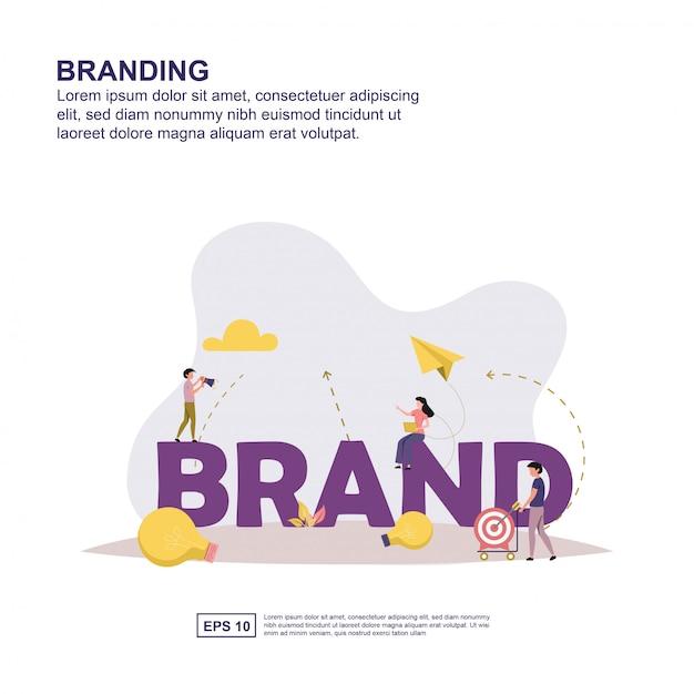 Image de marque design plat illustration vectorielle. Vecteur Premium