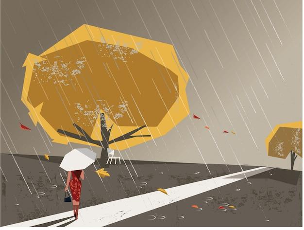 Image minimaliste avec texture grunge dans une scène de paysage en automne Vecteur Premium