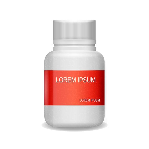 Image packaging painkiller pils fond blanc Vecteur Premium