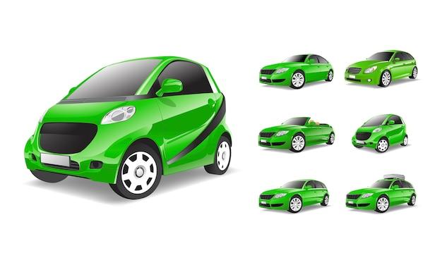 Image tridimensionnelle de la voiture verte isolée sur fond blanc Vecteur gratuit
