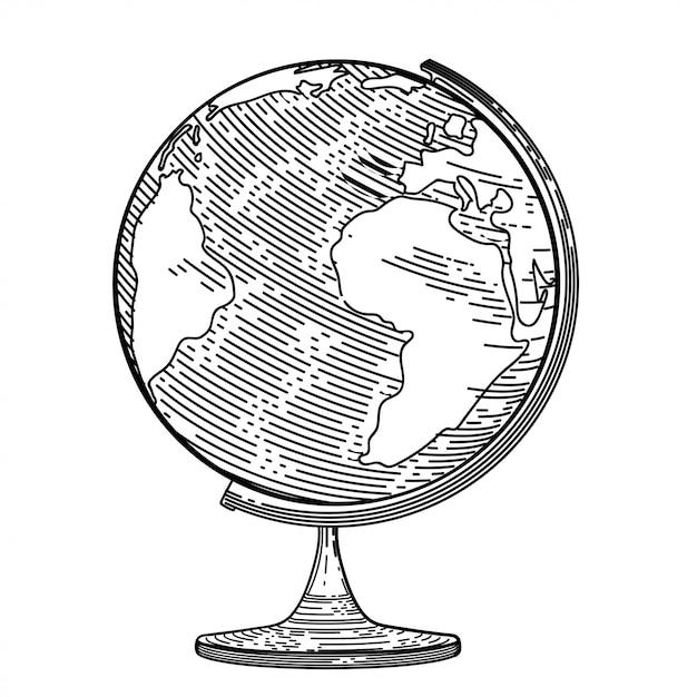 Image vectorielle du globe dans le style de la gravure. Vecteur Premium