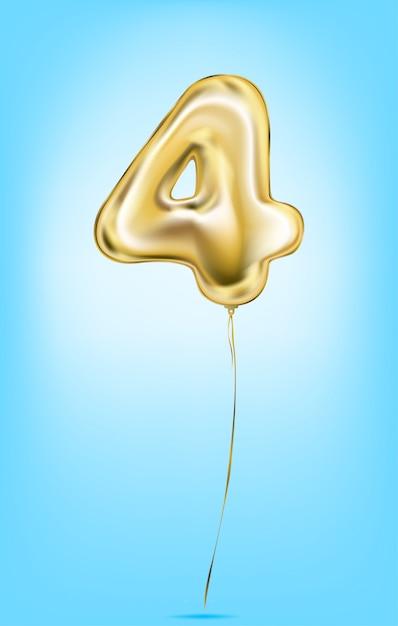 Image vectorielle de haute qualité des numéros de ballon en or Vecteur Premium