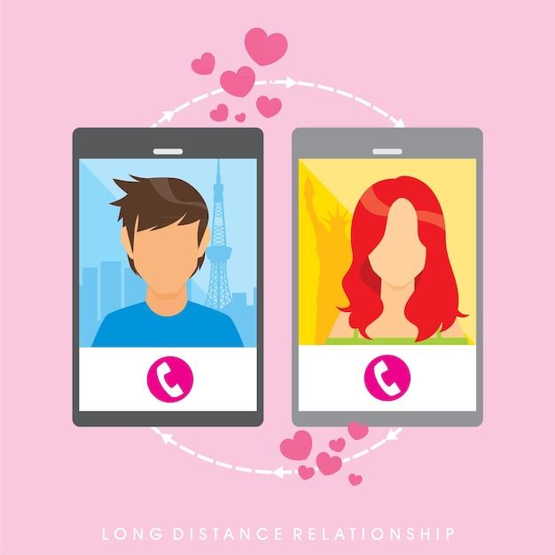 Image vectorielle sur la relation longue distance Vecteur Premium