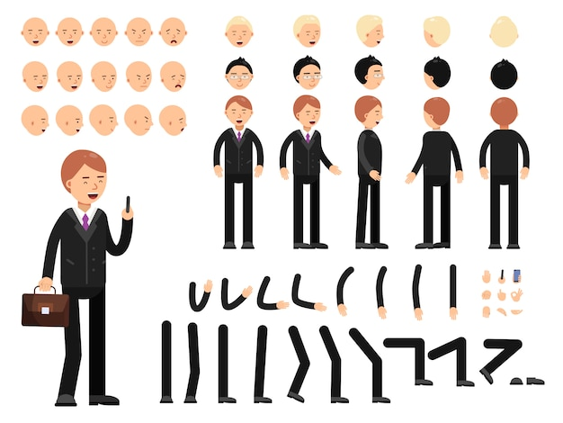 Images clés des personnages de l'entreprise. kit de mascotte création. constructeur de vecteur Vecteur Premium