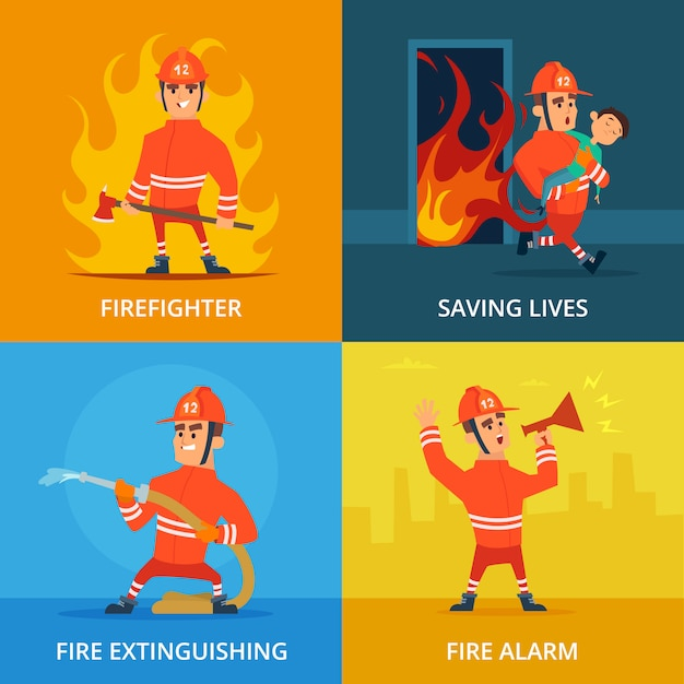 Images conceptuelles du pompier et de l'équipement de travail Vecteur Premium