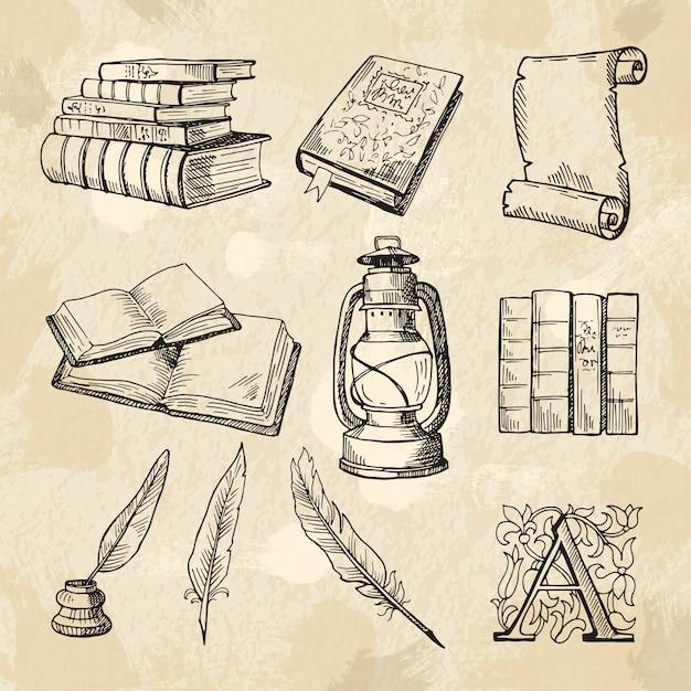 Images Conceptuelles De La Littérature. Livres De Dessins Vintage Et Différents Outils Pour Les écrivains Vecteur Premium