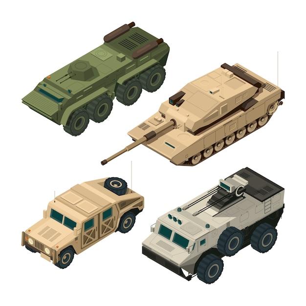 Images isométriques vectorielles définies de différents véhicules militaires isoler sur blanc Vecteur Premium