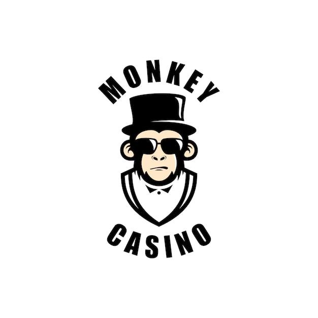 Images de logo de casino de singe Vecteur Premium