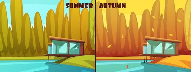 Images de style cartoon rétro de saisons dans les parcs naturels pour l'été et l'automne Vecteur gratuit