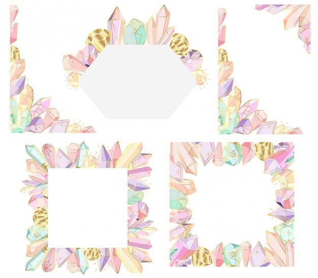 Images vectorielles avec cristaux et gèmes, contour doré Vecteur Premium