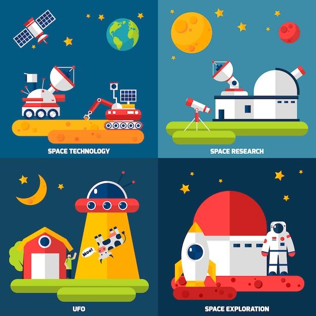 Images vectorielles d'exploration spatiale Vecteur gratuit