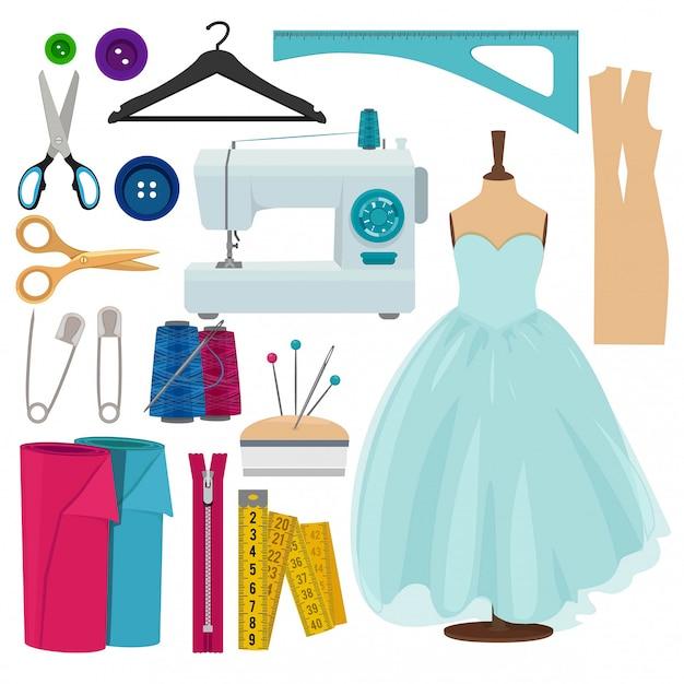 Images vectorielles des outils de couture isolés Vecteur Premium