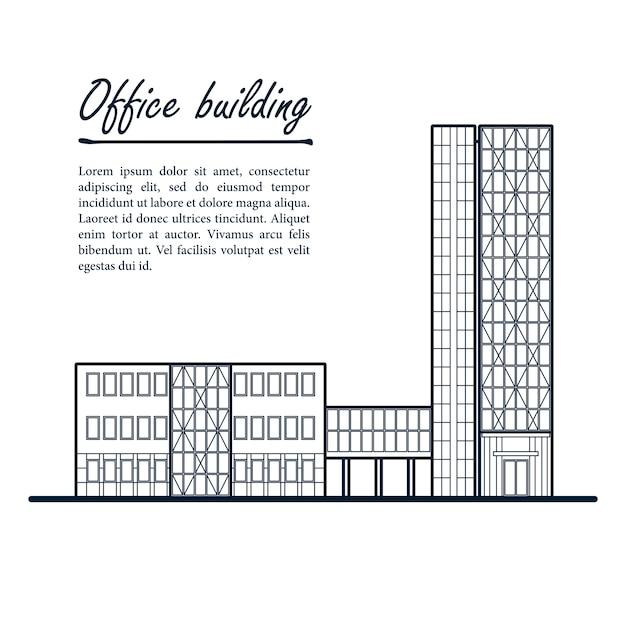 Immeuble de bureaux de grande hauteur. centre d'affaires. contour bleu foncé dessin sur blanc Vecteur Premium