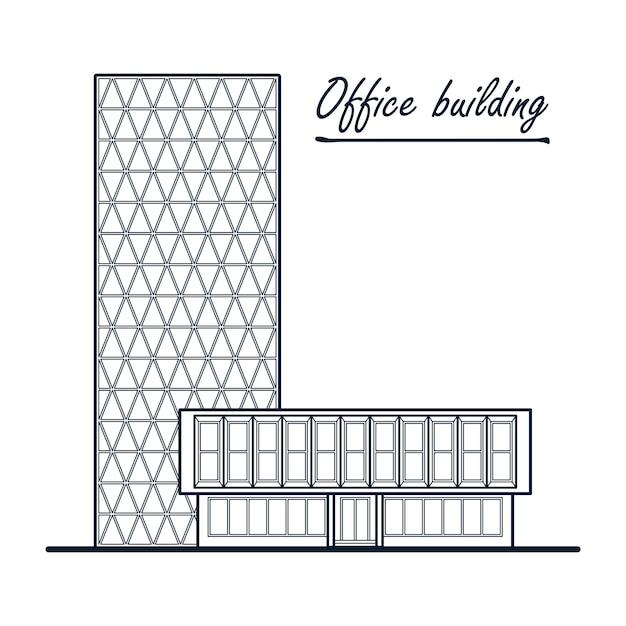 Immeuble de bureaux de grande hauteur. centre d'affaires. Vecteur Premium
