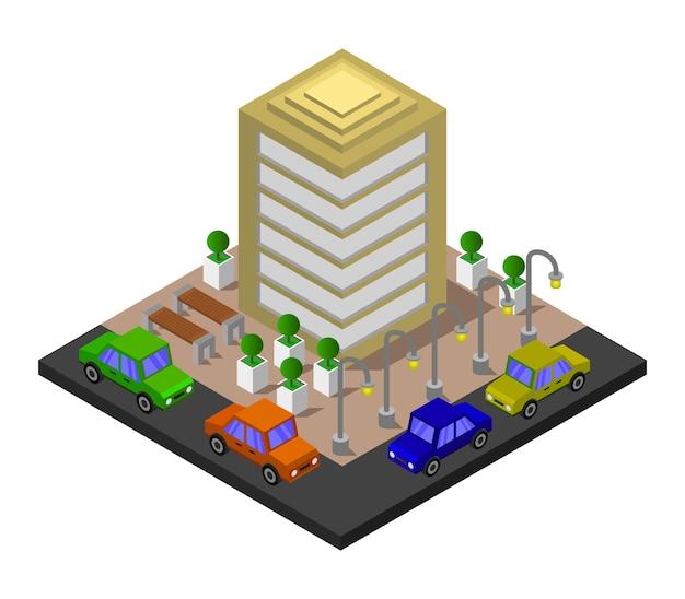 Immeuble De Bureaux Isométrique Vecteur gratuit