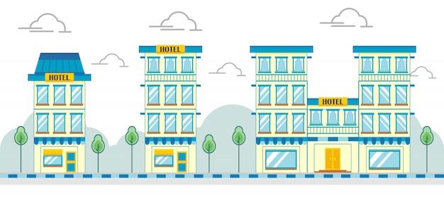 Immeuble commercial moderne et plat Vecteur Premium