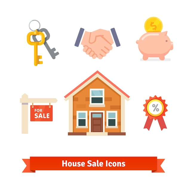 Immeuble, hypothèque maison, prêt, achat d'icônes Vecteur gratuit