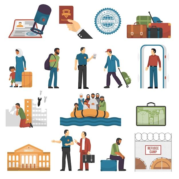 Immigration Isolé Couleur Icons Set Vecteur gratuit