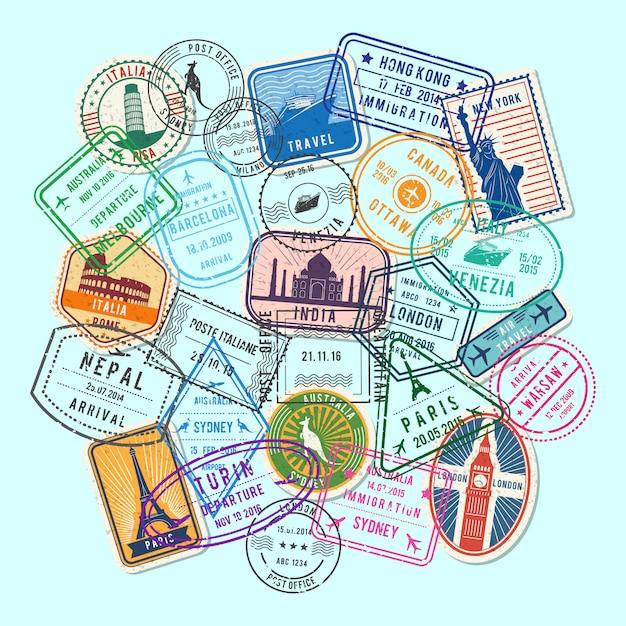 Immigration mondiale et timbres postaux marques de sable recueillies dans une illustration de pile Vecteur Premium