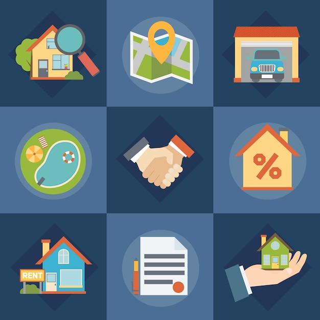 Immobilier et agents immobiliers icons set Vecteur gratuit