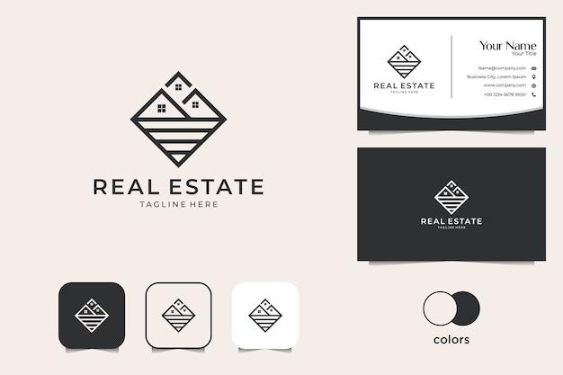 Immobilier Avec Création De Logo D'art En Ligne Et Carte De Visite Vecteur Premium